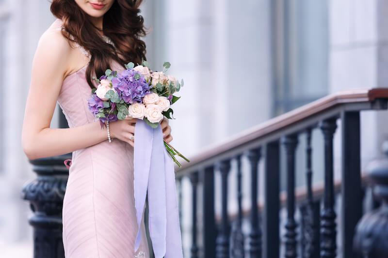 ピンクのドレス&ブーケ