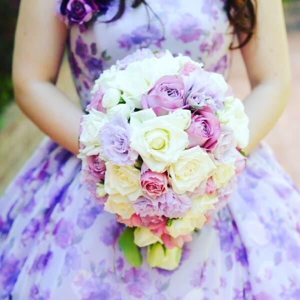 紫のドレス&ブーケ