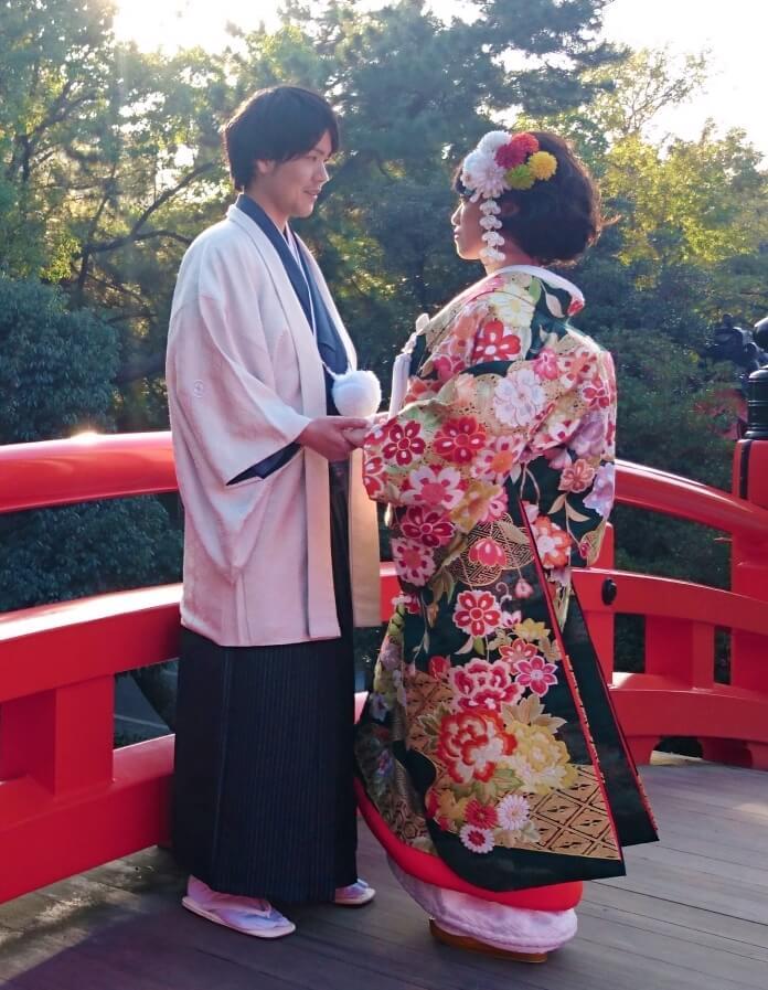 色紋付羽織袴